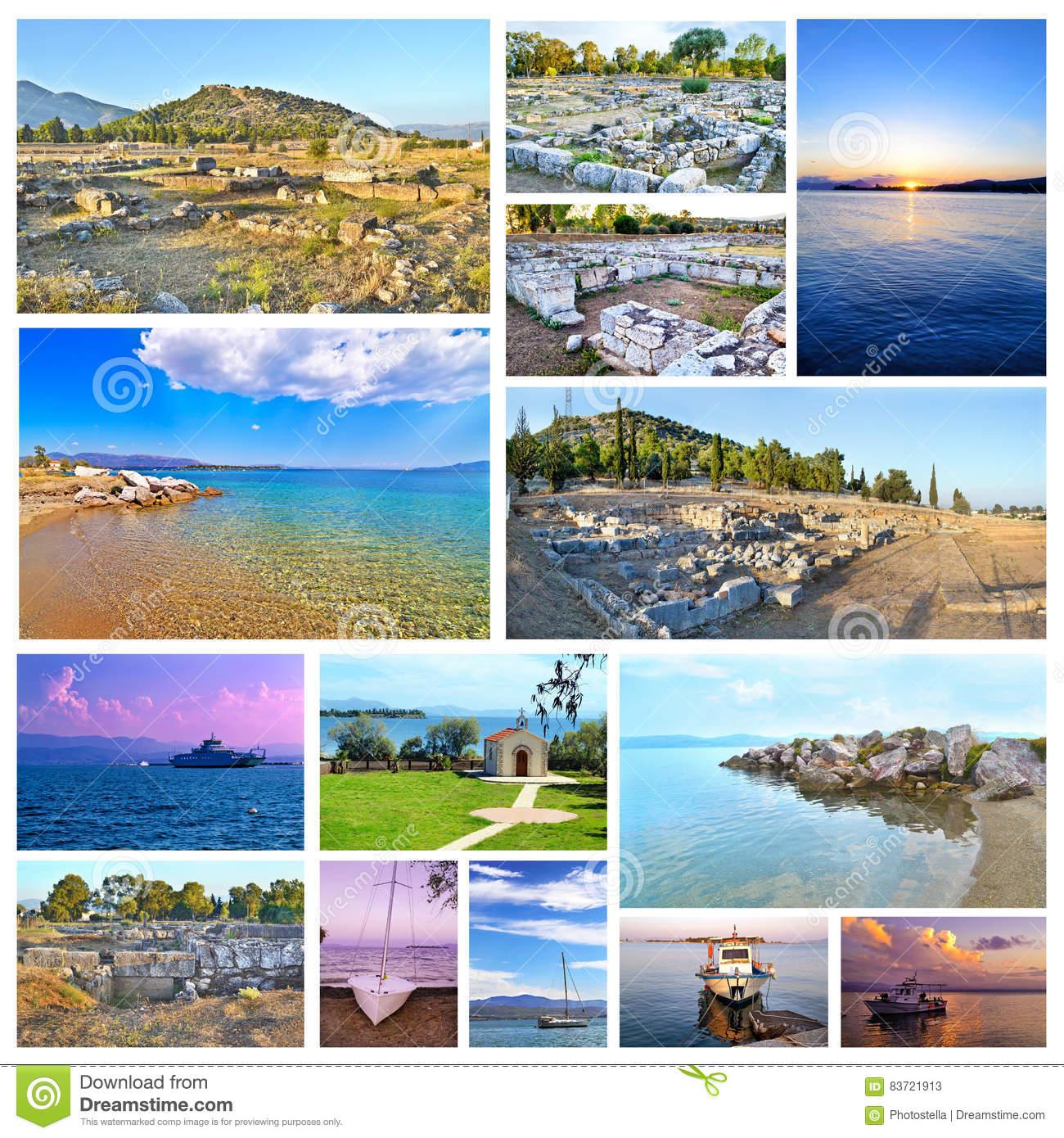 Photo Collage Of Eretria Euboea Greece Stock Photo.