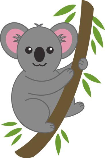 Clip art of a cute gray koala holding onto a eucalyptus tree.