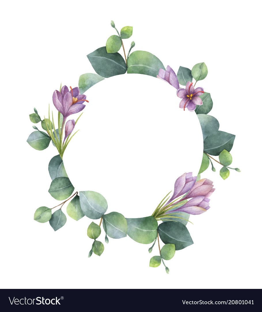 Watercolor round wreath with eucalyptus.