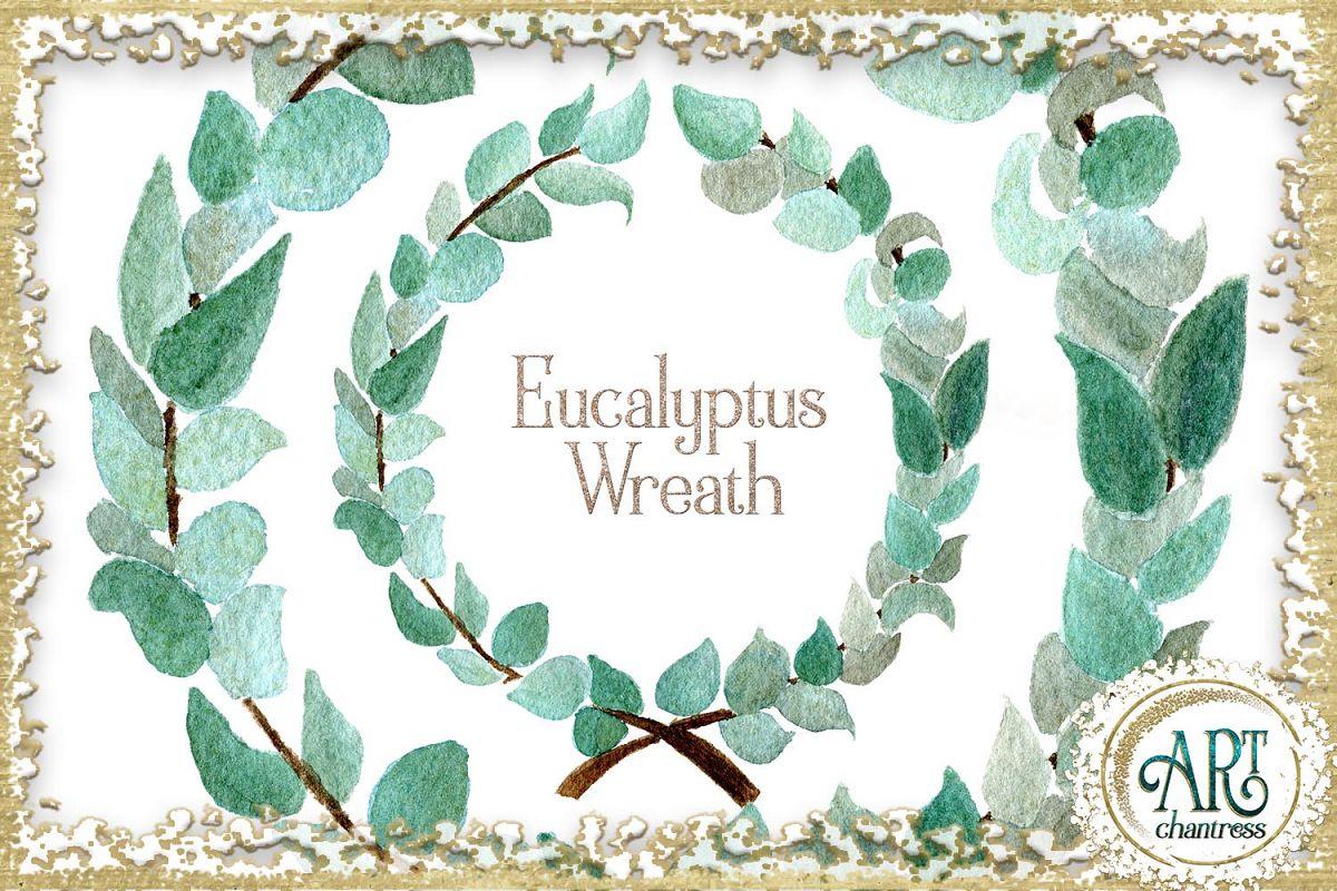 Watercolor Boho Greenery Eucalyptus wreath PNG.