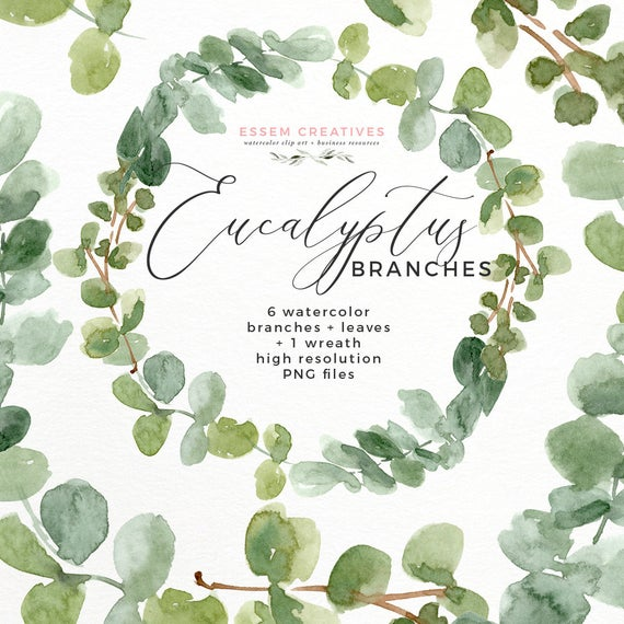 Eucalyptus Wreath Clipart PNG, Greenery Mother Day Card Tag, Watercolor  Green Leaf Clipart, Woodland Party Invites, Bohemian Gift Favor Sign.