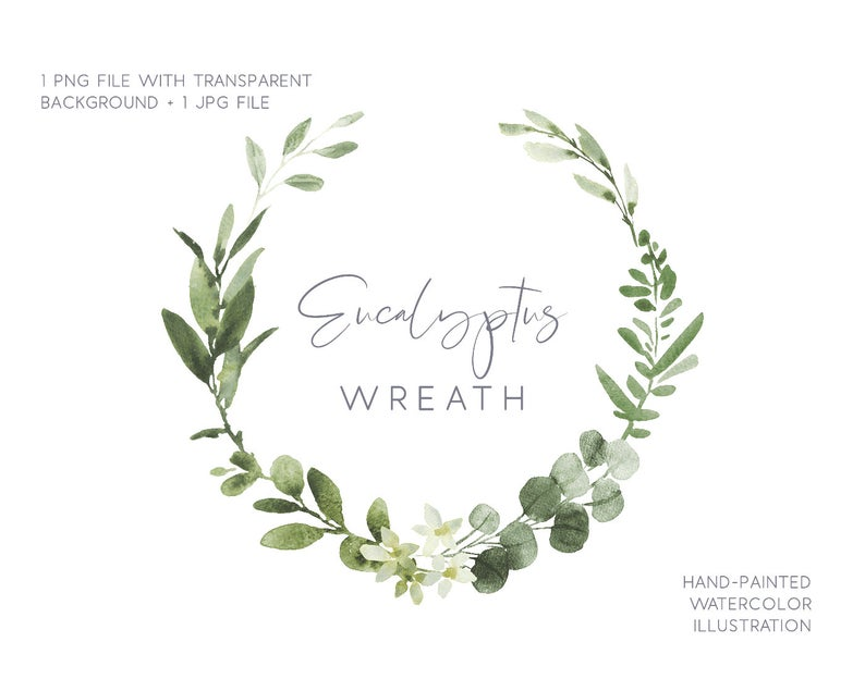 Eucalyptus wreath, Watercolor illustration, Wedding greenery, Green wreath,  wedding wreath, Watercolor, Clipart, wreath, wreath clipart.