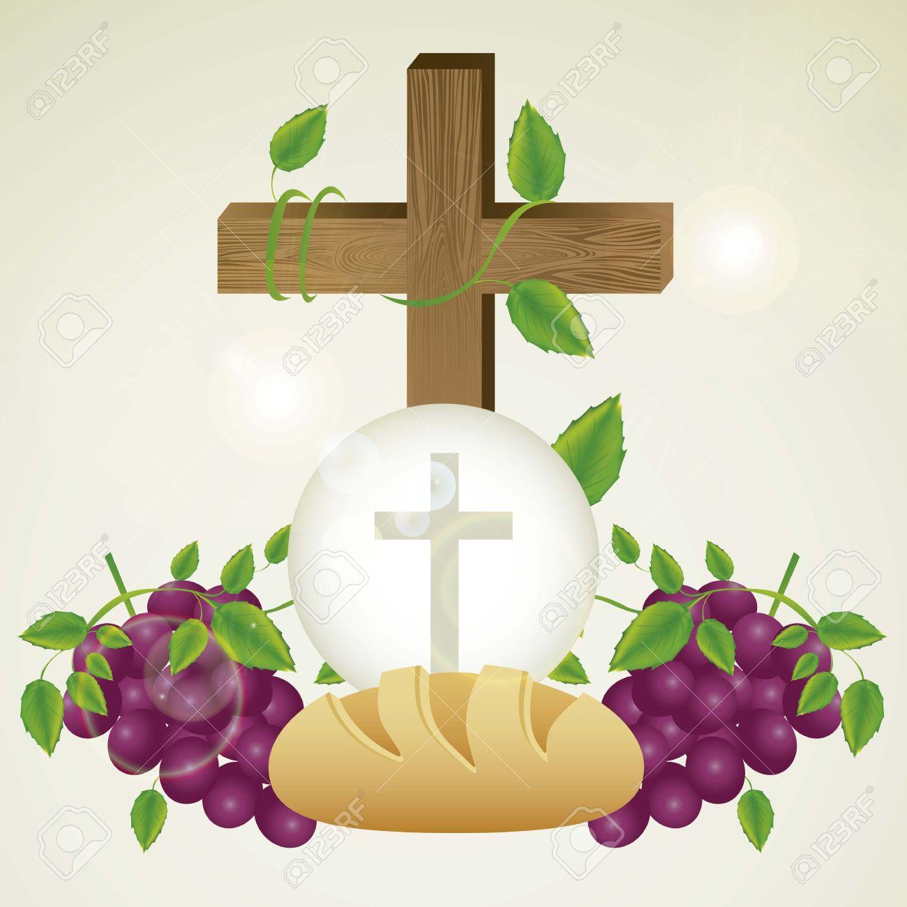 Ilustración de Jesús Cristo, la Eucaristía y el sacramento de la comunión,  ilustración vectorial.