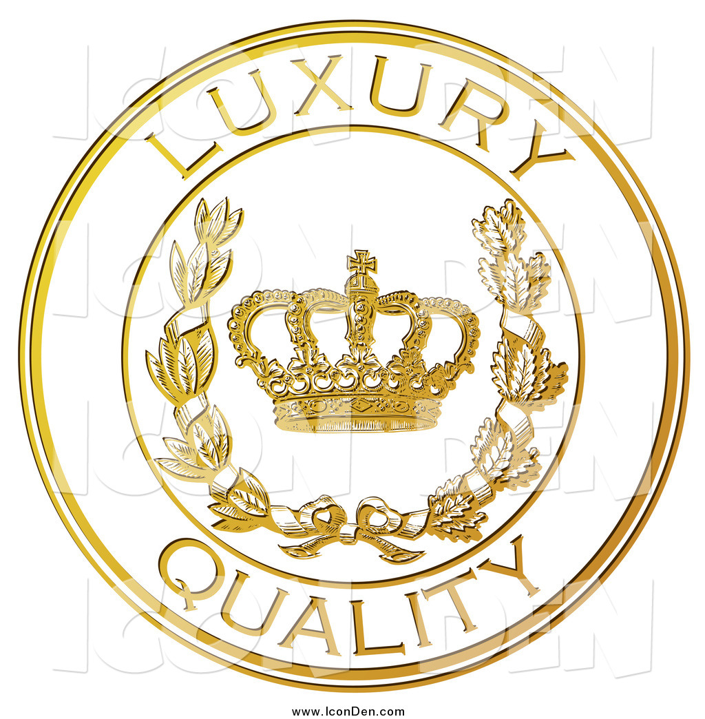 Clip Art of a Golden Embossed Luxury Quality Seal by Eugene.