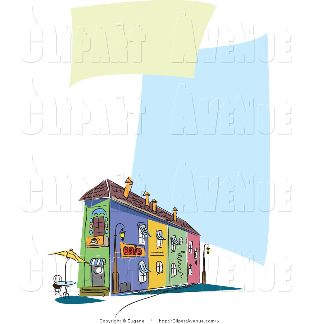 Avenue Clipart of a Restaurant Building and Sidewalk Cafe Menu by.