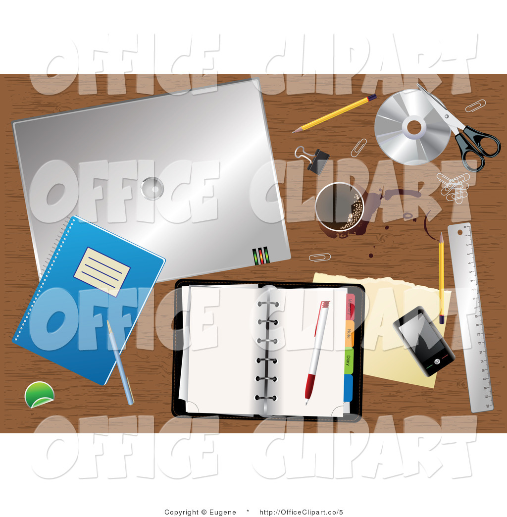 Vector Clip Art of a Messy Office Desk by Eugene.
