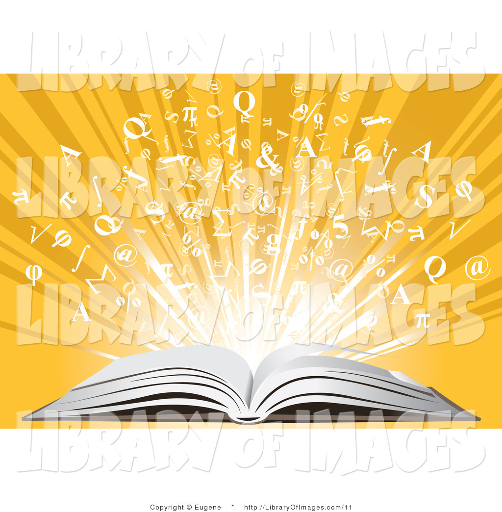 Clip Art of an Open Book and Letters by Eugene.