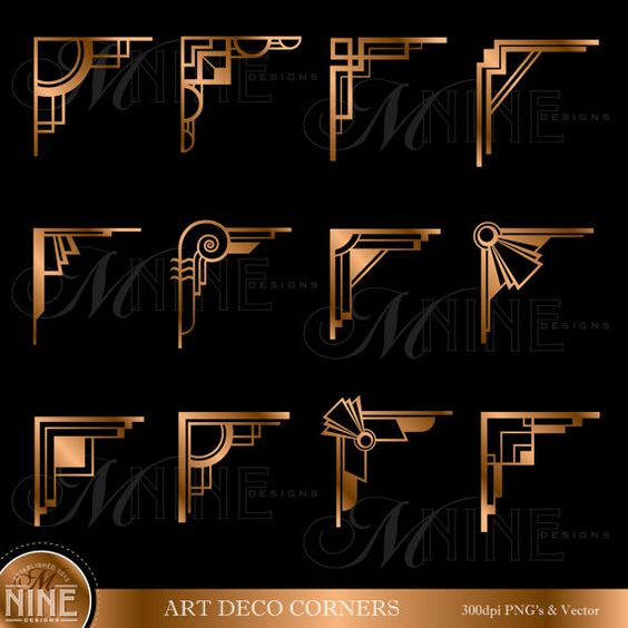Bronze ART DECO CORNERS Clipart Digital Clip Art, Instant Download.