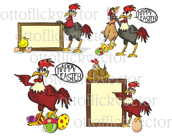 HAPPY EASTER VECTOR clipart, chicken, hen, chick rooster cartoons.