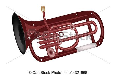 Clip Art Vector of A Musical Euphonium Isolated on White.
