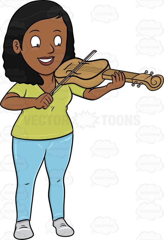 A Happy Black Woman Playing The Violin.