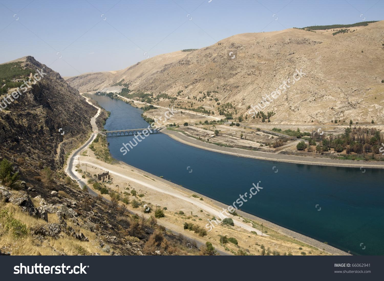 Euphrates River Ataturk Dam Anatolia Turkish Stock Photo 66062941.