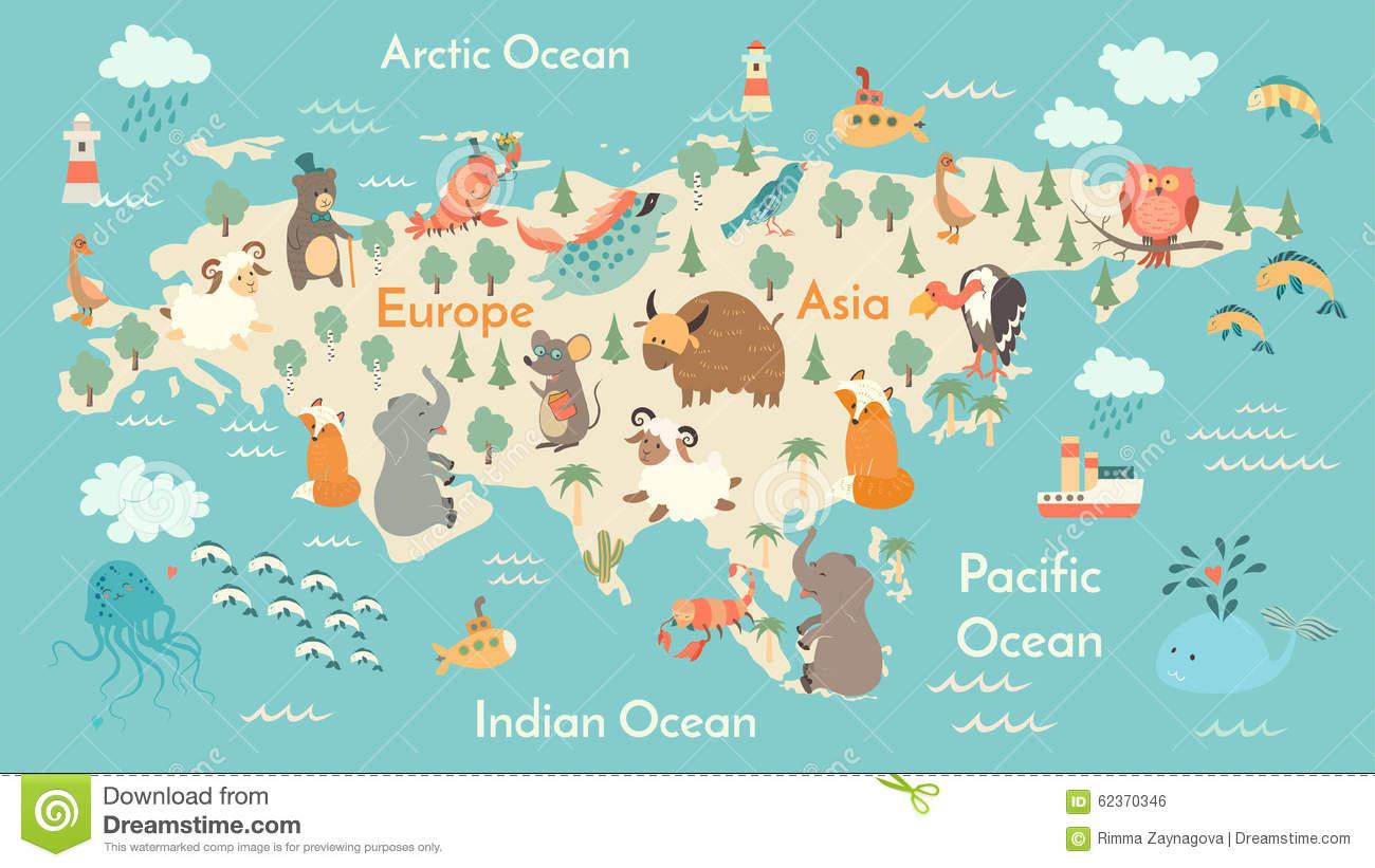 Animals World Map, Eurasia Stock Vector.