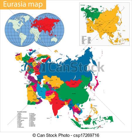Vector Clip Art of Eurasia map.