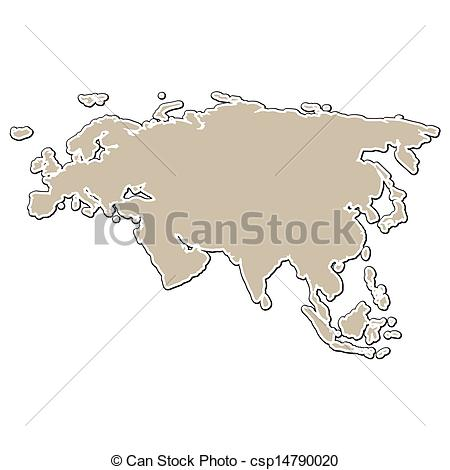 Vector Illustration of outline of the map of Eurasia in paper.
