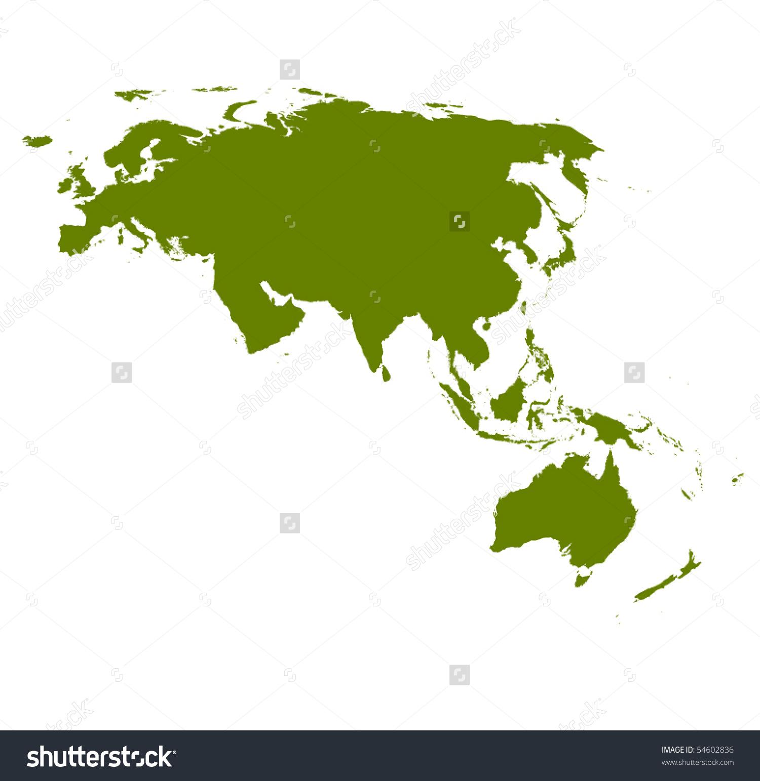 Vector Detailed Eurasia Australia Map Silhouette Stock Vector.