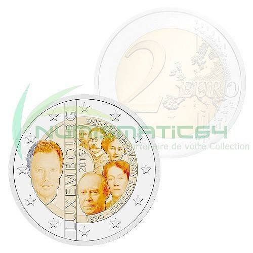 Coincard 2 Euro CC Coin Luxembourg 2015 Dynasty Nassau.