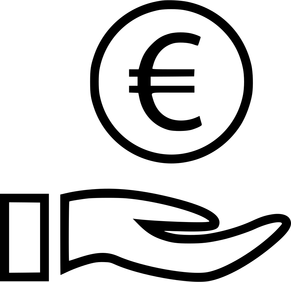 Euro Sign Hands Coin Svg Png Icon.