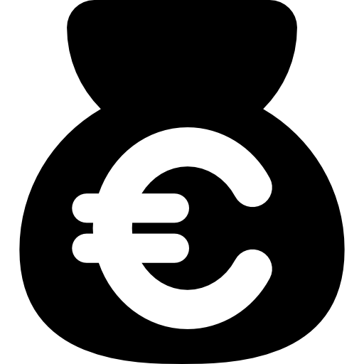 Money bag Euro sign Currency symbol.