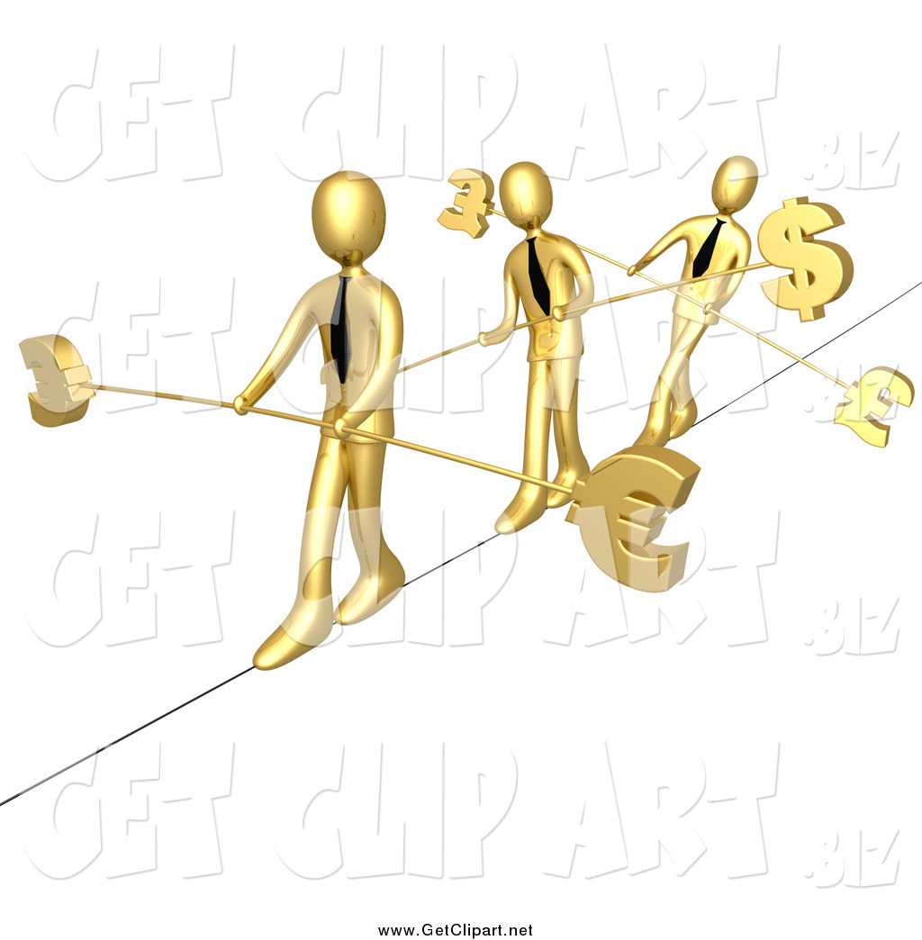 Clip Art of 3d Gold Business Men Walking Across a Tightrope with.