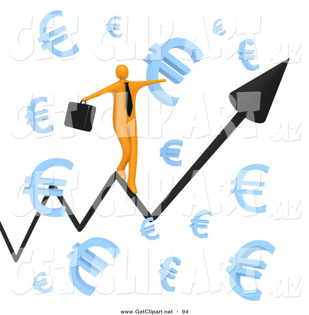 3d Clip Art of a Balancing Happy Orange Businessman Carrying a.