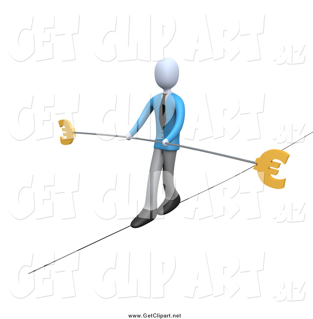 Clip Art of a 3d Business Man Walking on a Tightrope with a Bar.