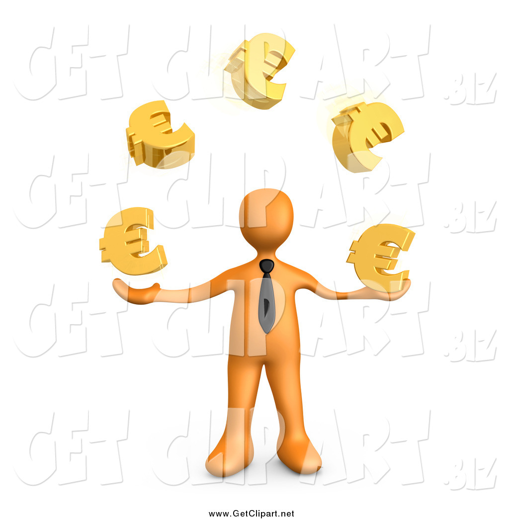 Clip Art of a 3d Orange Business Man Standing and Juggling Golden.