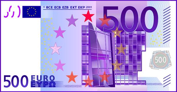 Free 500 Euro Note Clip Art.