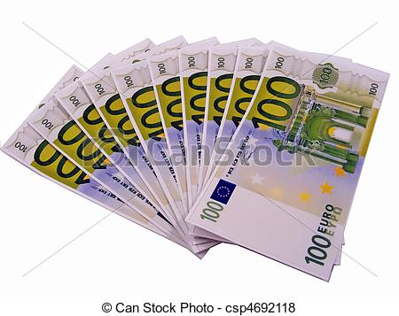 Pictures of 1000 euros in 100 euro money notes.