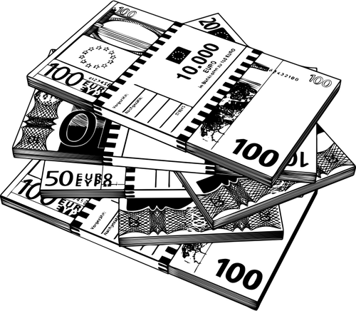 Vector clip art of Euro notes in black and white.