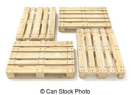 Clipart of Euro pallet. Top view. 3D render illustration isolated.