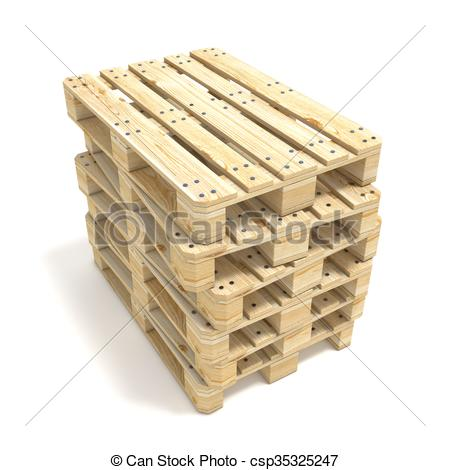 Drawing of Wooden Euro pallets. 3D render illustration isolated on.