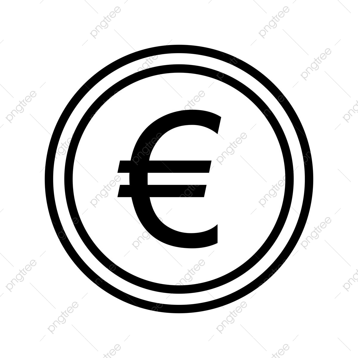 Euro Coin Line Icon, Money, Dollar, Euro PNG and Vector with.