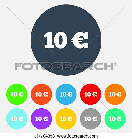 Clipart of 10 Euro sign icon. EUR currency symbol. k17704353.