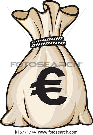Clipart of Money bag with euro sign k15771774.