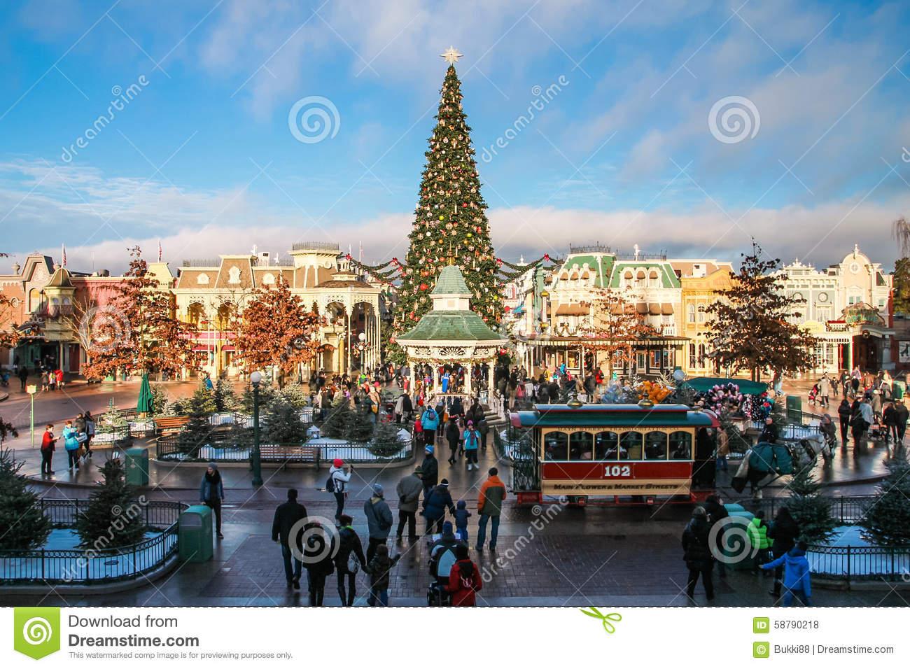 Disneyland Paris With Christmas Decorations Editorial Stock Photo.
