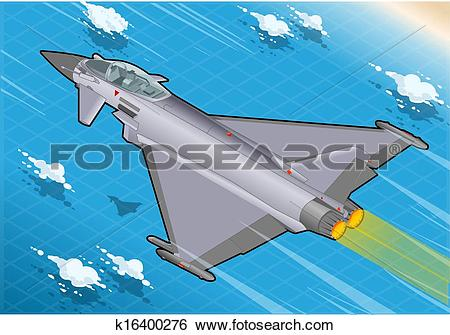 Clip Art of Isometric Eurofighter in Flight k16400276.