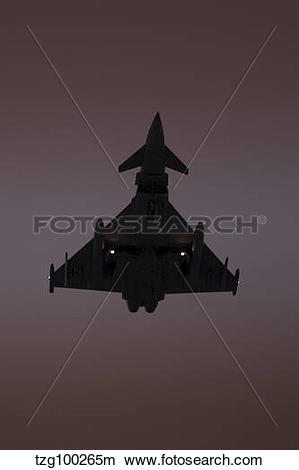 Stock Photo of A German Air Force Eurofighter Typhoon approaching.