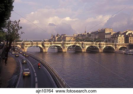 Stock Photo of Paris, France, Europe, bridge, Seine River, A road.