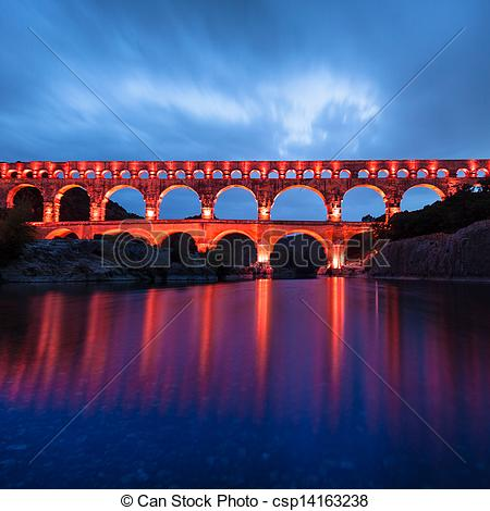 Drawings of The Pont du Gard, southern France, Europe..