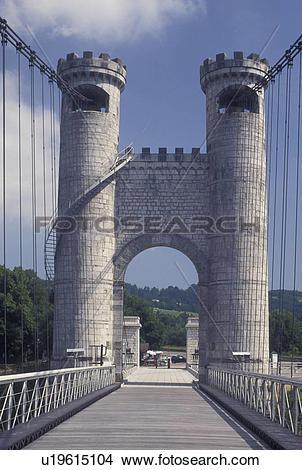 Stock Photo of France, suspension bridge, Annecy, Haute.