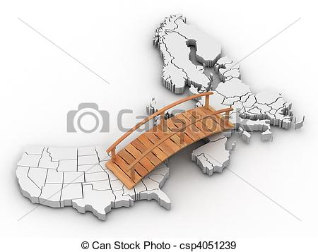 Stock Illustration of Bridge between europe and usa. 3d csp4051239.