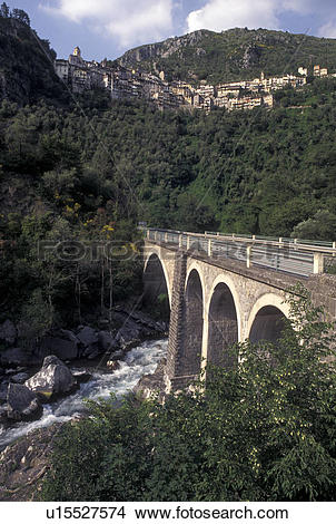 Stock Photo of bridge, France, Saorge, Alpes, Alpes.