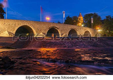 Stock Photo of Old bridge over the Lahn, 13th century, Wetzlar.