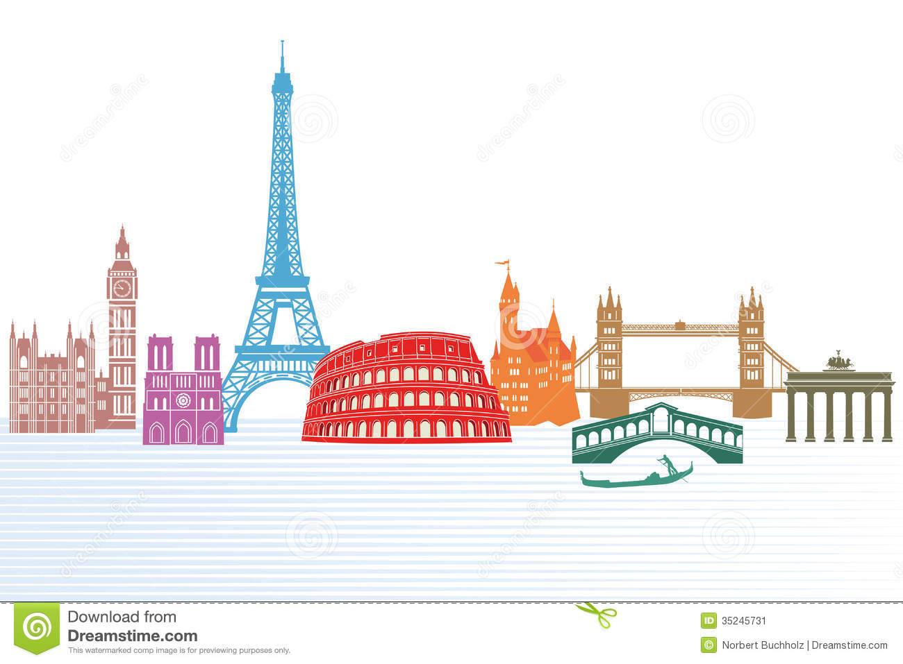 European landmarks stock vector. Illustration of illustrated.