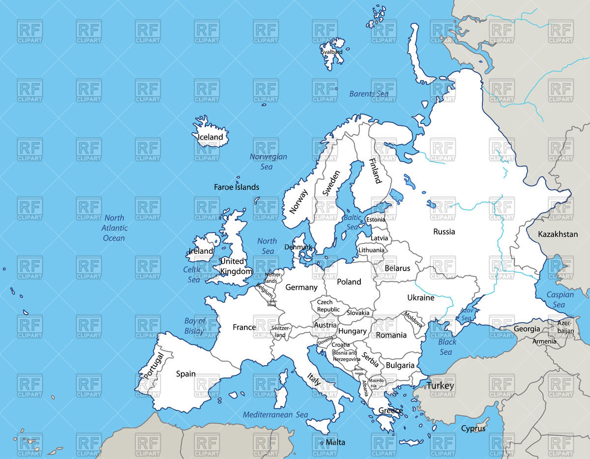 Map of the Europe Stock Vector Image.