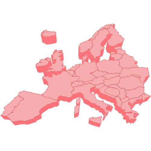 Vector clip art of 3D map of Europe.