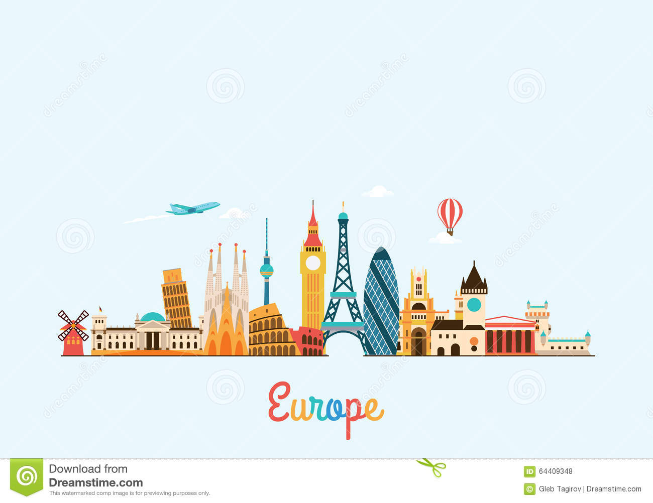 European travel clipart.
