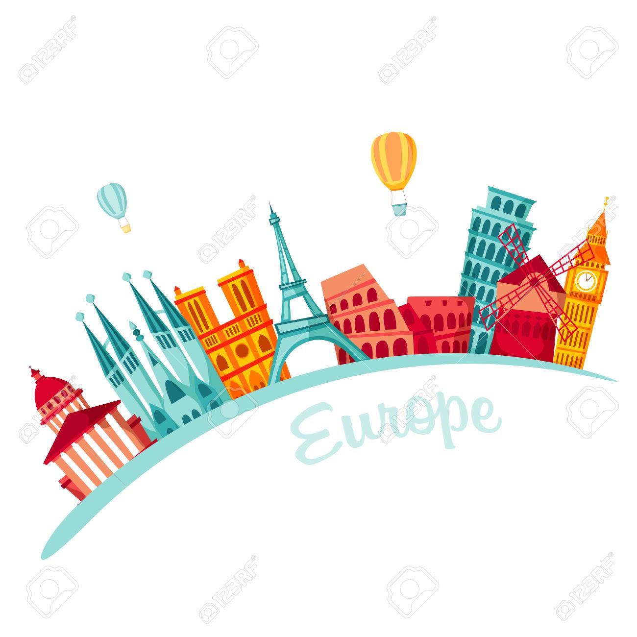 Europe Travel Background. Travel Set. European Famous Buildings.