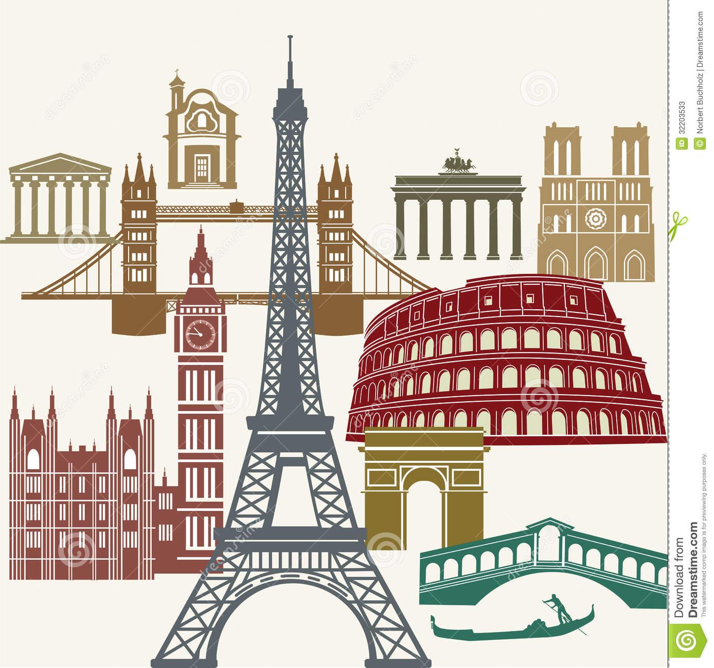 Europe landmarks clip art.